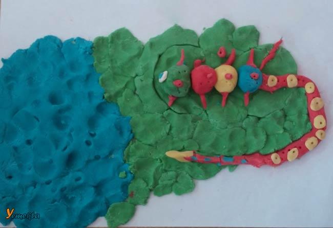 Oyun hamuru ile yapılan şekiller görseller - Uzaylı kertenkele.