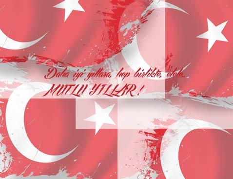 Yeni Yıl Mesajları - Ay yıldızlı Türk Bayrağımız ve yeni yıl mesajı görseli