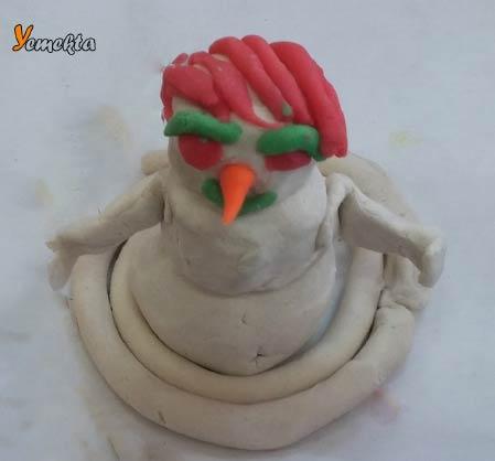 Oyun hamuru ile yapılan şekiller görseller - Kardan adam - Play dough snowman.