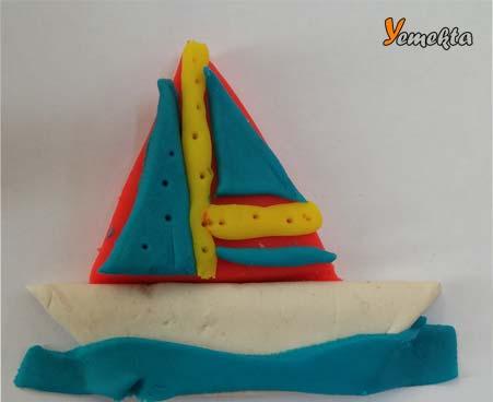 Oyun hamuru ile yapılan şekiller görseller - yelkenli gemi görseli.