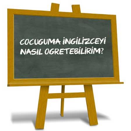 Çocuğuma İngilizce nasıl öğretebilirim İngilizceyi nasıl sevdiririm yazısı için kullanılan resimde, yazı tahtası görseli var.