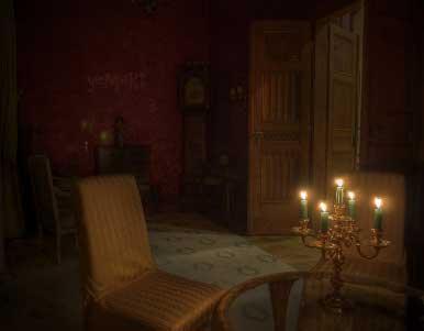 Gerçek ilginç videolar kategorisinin görseli - Karanlık oda, mum ışığı ve ahşap eşyalar.
