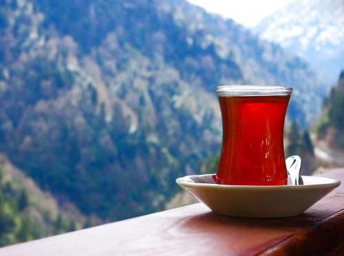 Karadeniz Bölgesi Yemek Kültürü içerisinde bulunan bir bardak sıcacık taze çay görseli.