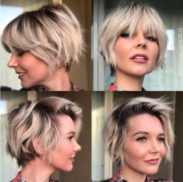 Kısa saç modelleri - Pixie kesim doğal dalgalı kısa saç görseli.