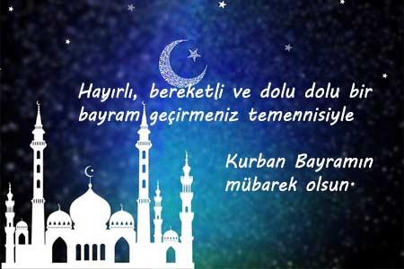 Müslüman bir iş arkadaşına gönderebileceğiniz kurban bayramı mesajları - Resimde islam dinine ait mavi bir cami görseli ve bayram mesajı bulunuyor.