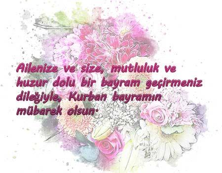 Müslüman bir iş arkadaşına gönderebileceğiniz kurban bayramı mesajları - Resimde islam dinine ait çiçekli bir desen görseli ve bayram mesajı bulunuyor.