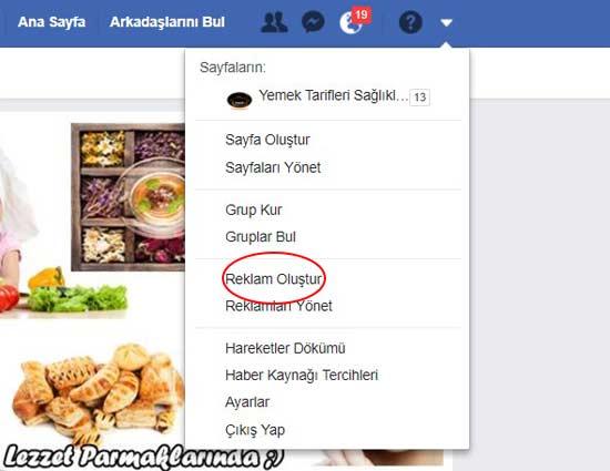 Facebook reklam verme için reklam oluştur butonuna tıklama resmi.