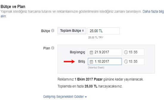 Facebook Reklam Verme için kullanılan resimde bütçe ve plan ayarlarını içeren görsel bulunuyor.
