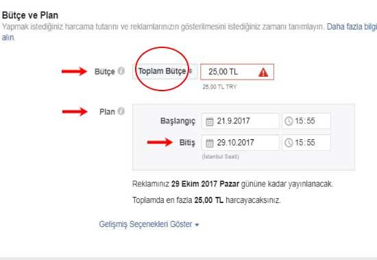 Facebook reklam verme için kullanılan resimde, bütçe ve plan ayarları kısmını gösteren bir görsel var.