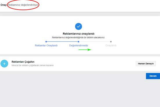 Facebook Reklam Verme yazısı için kullanılan bu resimde değerlendirme süreci ile ilgili görsel var.