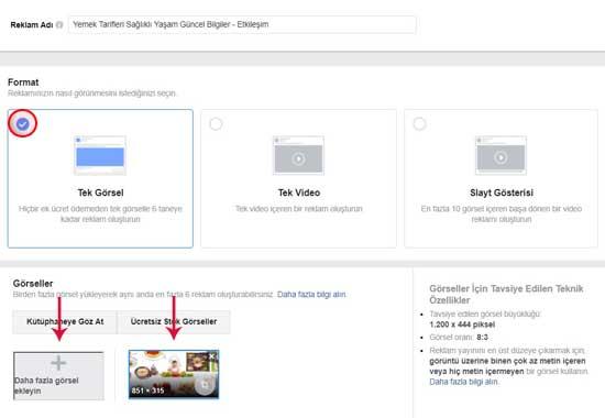 Facebook Reklam Verme için Format ve Görseller.