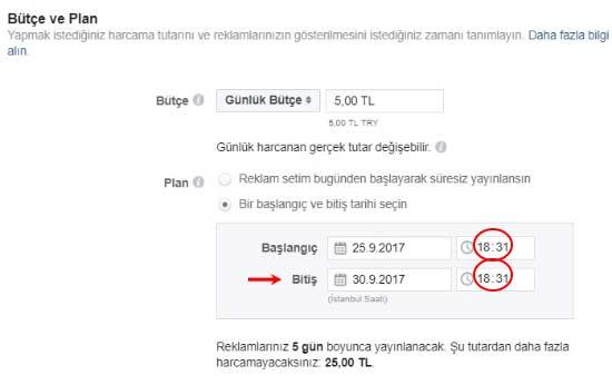 Facebook reklam verme - Günlük bütçe ayarları resmi.