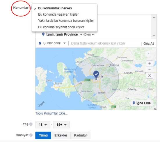 Facebook reklam verme - Resimdeki konumlar bölümünde seçili şehir ve ülke adları bulunuyor.