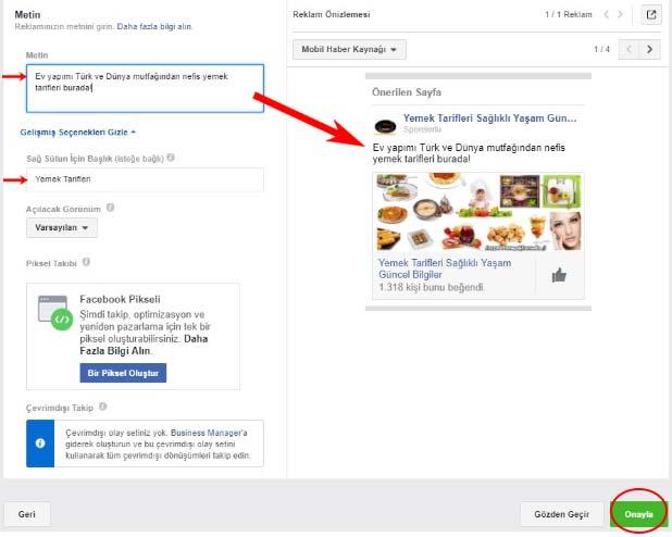 Facebook reklam verme ayarlarından olan metni gözden geçir ve onayla sayfası görseli.