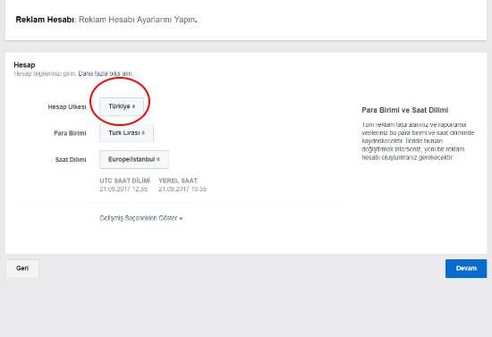 Facebook reklam verme için kullanılan resimde, reklam hesabı ayarlarını yap butonuna tıklama görseli var.