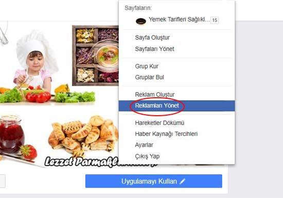 Facebook Reklam Verme - Reklamları yönet sayfasının görseli.