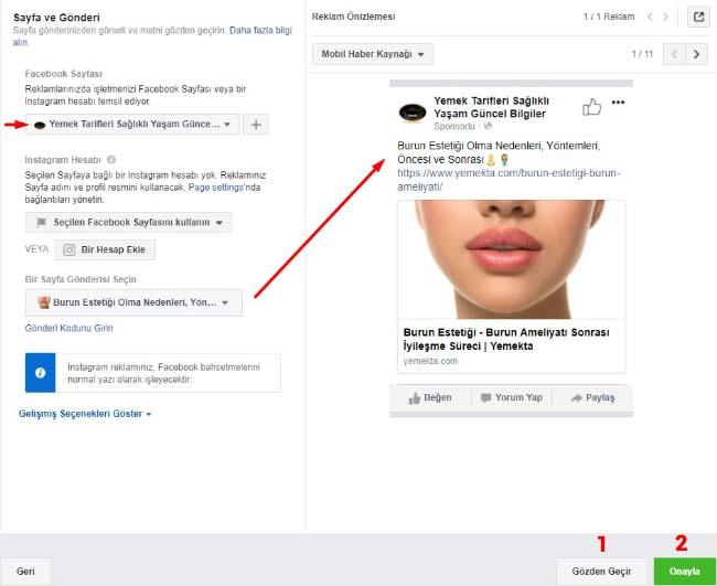 Facebook Reklam Verme - Resimde sayfa ve gönderi bölümü ayarlarını gösteren görsel var.