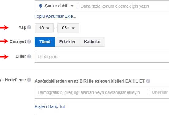 Facebook reklam verme - Görseldeki facebook sayfasında yaş, cinsiyet ve diller ok işaretiyle gösterilmiş.