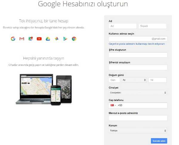 Google Reklam verme hizmetini kullanmak için Google hesabı oluştur ayarlarına ait bir görsel.