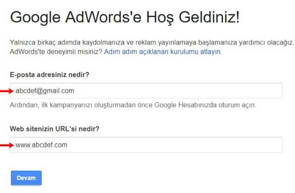 Google reklam verme işlemi için Google AdWords'e kaydolma sayfasının görseli.