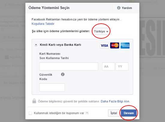 Facebook reklam verme için ödeme yöntemini seçin - Resimde, ödeme yapmak için kredi kartı alanlarının görselleri var.