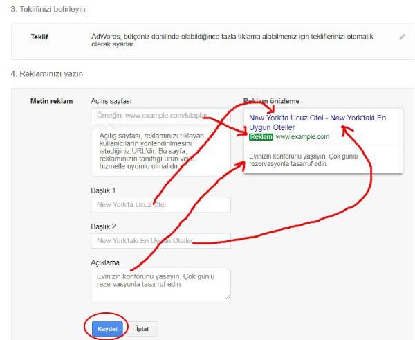 Google Reklam Verme - İlk kampanya sayfasına ait bu görselde, reklam teklifi ve metin reklamı kısımlarına ait resimler var.