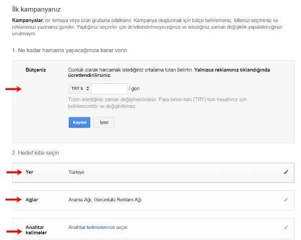 Google Reklam Verme - İlk kampanya sayfasına ait bu görselde, yer, anahtar kelimeler, ağlar ve bütçe kısımlarına ait resimler var.