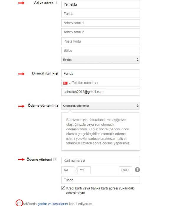 Google reklam verme işlemi için gerekli ödeme sayfası resminde, ad, adres, ödeme yöntemi ve birincil ilgili kişi kısımlarına ait görseller var.