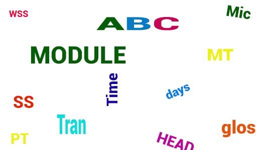 Dyned Nedir yazısı için kullanılan resimde, Dyned İngilizce dil eğitim programı içerisinde bulunan kısaltmalar yazıyor.