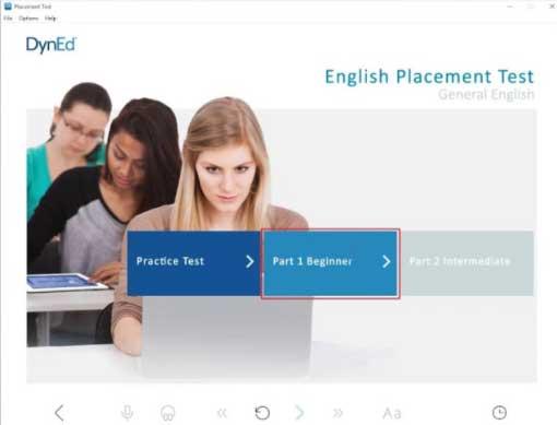 Dyned Nedir - Resimde, öğrencilerin İngilizce seviyelerini belirleyen bir sınav olan Placement Test açılış sayfası bulunuyor.