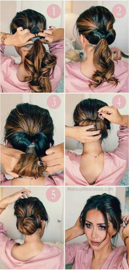 Dağınık Topuz Saç Modelleri - Resimde, 2 dakikada yapabileceğiniz dağınık topuz saç modelleri için adım adım görseller var.