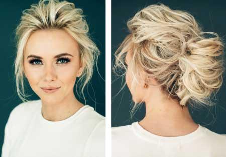 Dağınık Topuz Saç Modelleri yazısı için kullanılan resimde dağınık saç stiline sahip sarışın, güzel bir genç kadın var.