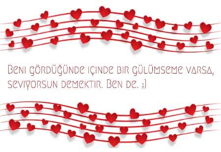 Sevgiliye Güzel Sözler - Görselde, sevgililer için çiçek ve notalarla süslenmiş komik bir aşk mesajı var.