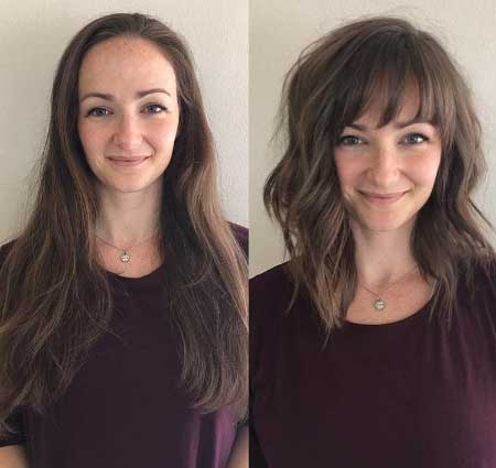 Orta boy ince telli saçlar için saç kesim modelleri - Resimde, ince telli saçlara sahip biri uzun, diğeri orta boy saçlı olmak üzere aynı kadına ait iki fotoğraf var.