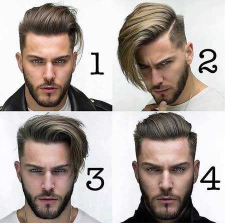 Erkek Saç Modelleri 2019 yazısı için kullanılan resimde, oval yüzlü, sakallı ve birbirinden farklı fade kesim, orta boy saça sahip 4 yakışıklı erkek var.