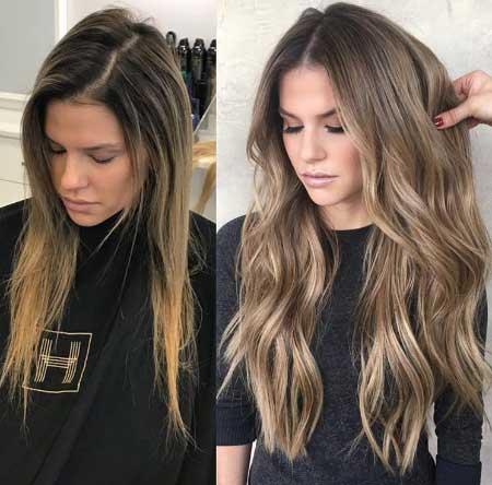 Uzun ince telli saçlar için saç kesim modelleri bayan - Resimde uzun, dalgalı ve hacimli ince telli saça sahip güzel bir kadın var.